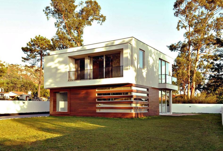 Dise o de casa cuadrada de dos pisos con planos y fachadas for Casa minimalista de un piso