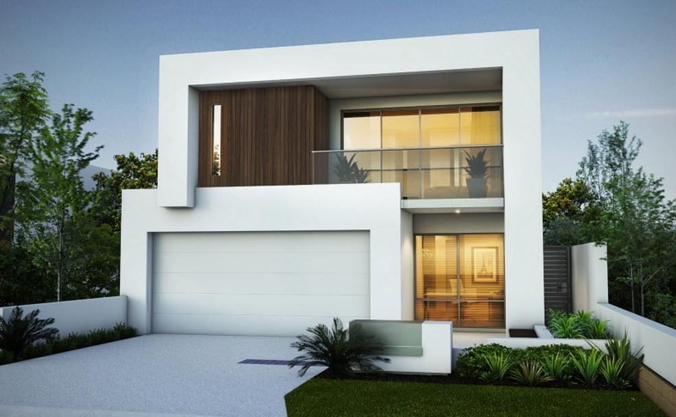Planos y fachada de moderna casa de dos plantas for Fachadas de casas modernas pequenas de 2 pisos