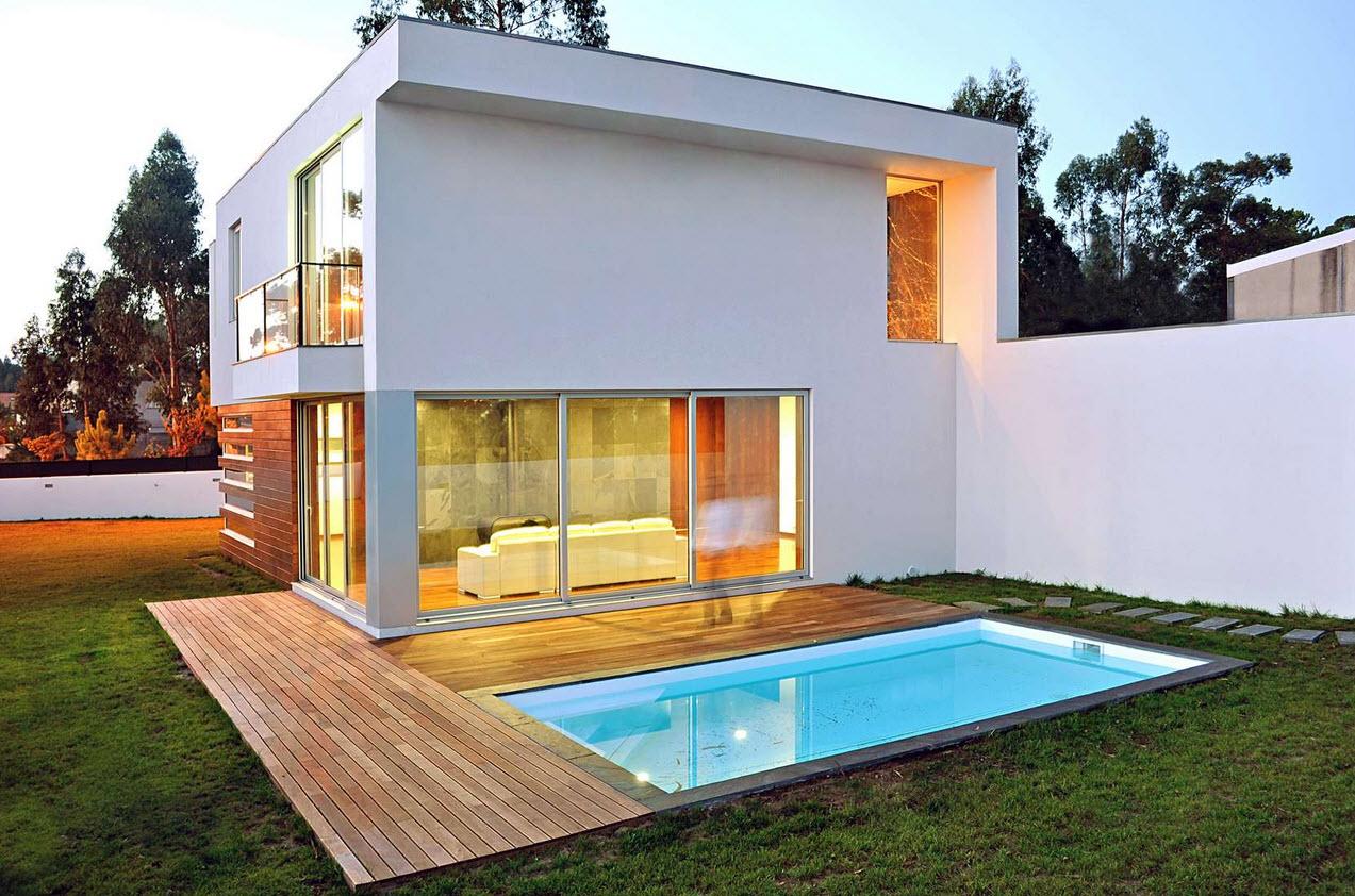 diseño de casa cuadrada de dos pisos con planos y fachadas
