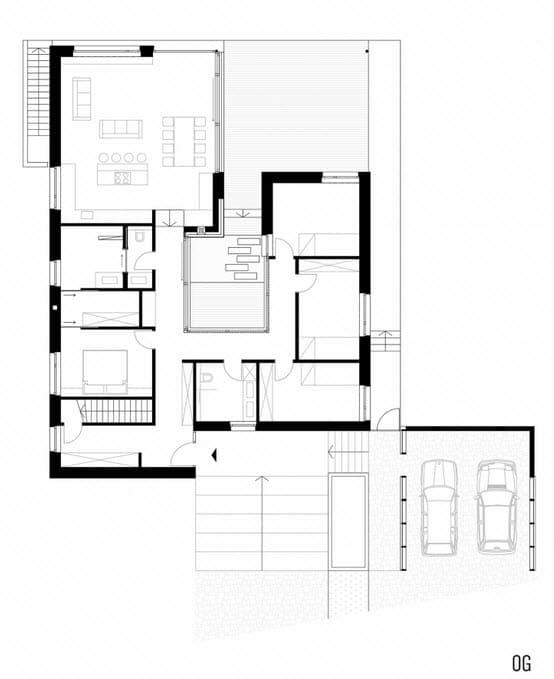 Plano de casa de una planta con fachadas for Plano casa una planta