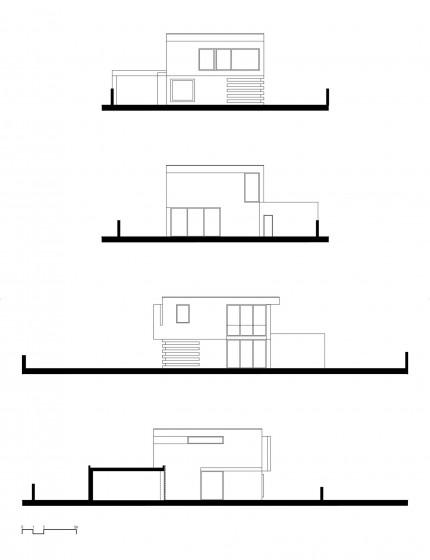 Plano de elevaciones de la moderna casa de dos pisos