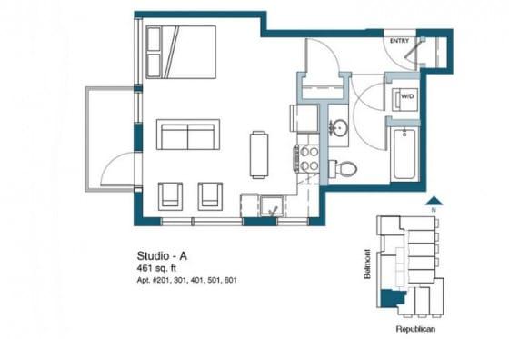 Plano de mini departamento pequeño