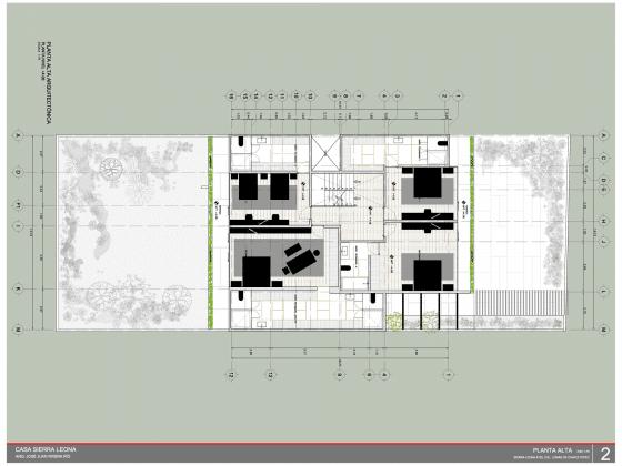 Plano del segundo piso de casa cuadrada