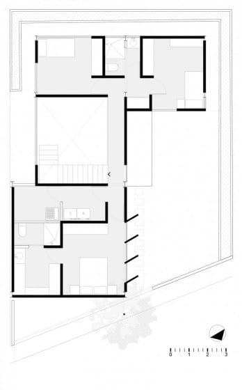 Plano del segundo piso de casa en forma de L