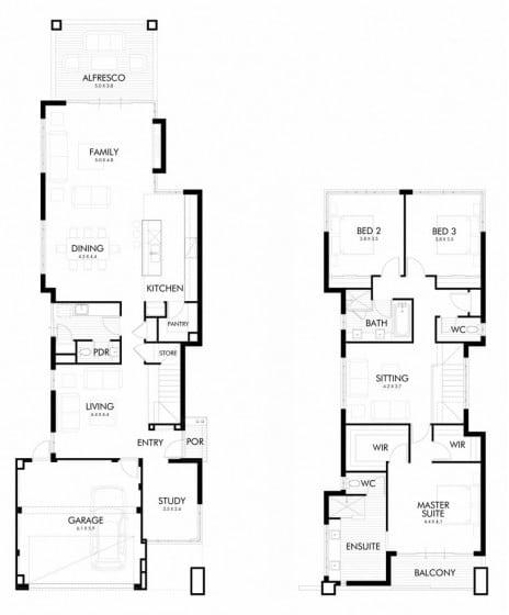 Planos de moderna casa de dos plantas