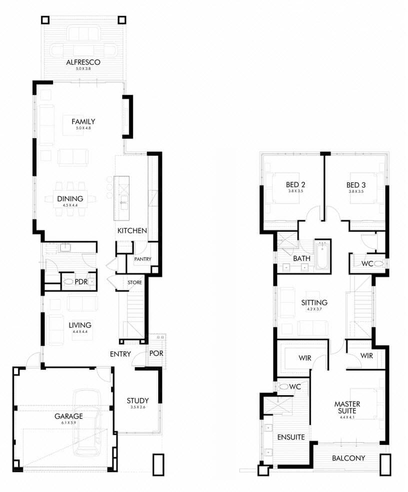 Planos y fachada de moderna casa de dos plantas for Planos de casas 90m2