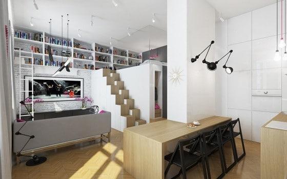 Decoración de interiores de sala y cocina de departamento