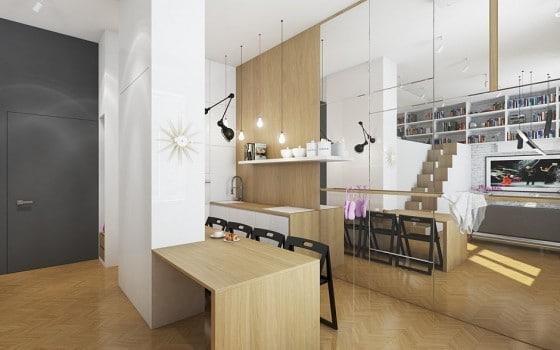 Diseño de cocina  con isla para departamento pequeño