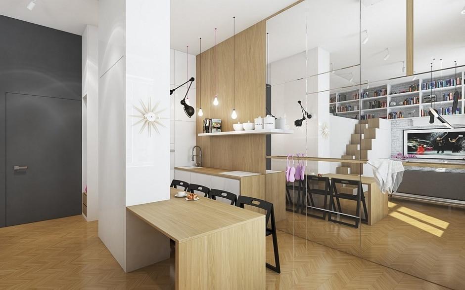 Planos de departamento peque o y cuadrado for Cocinas integrales para departamentos