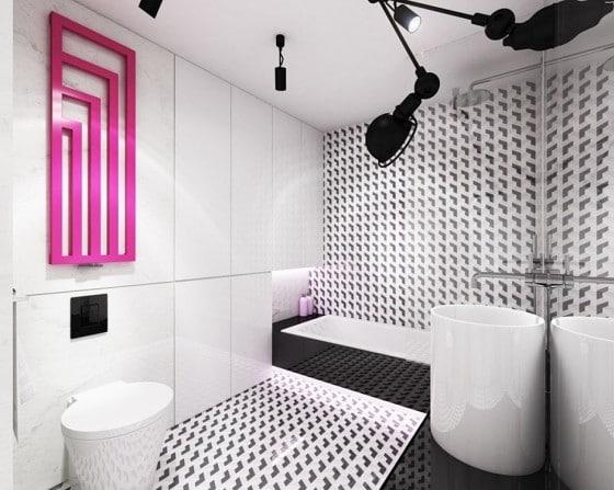 Diseño de cuarto de baño moderno blanco y negro