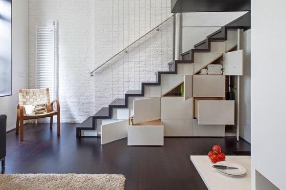 Diseño de escaleras con cajones debajo