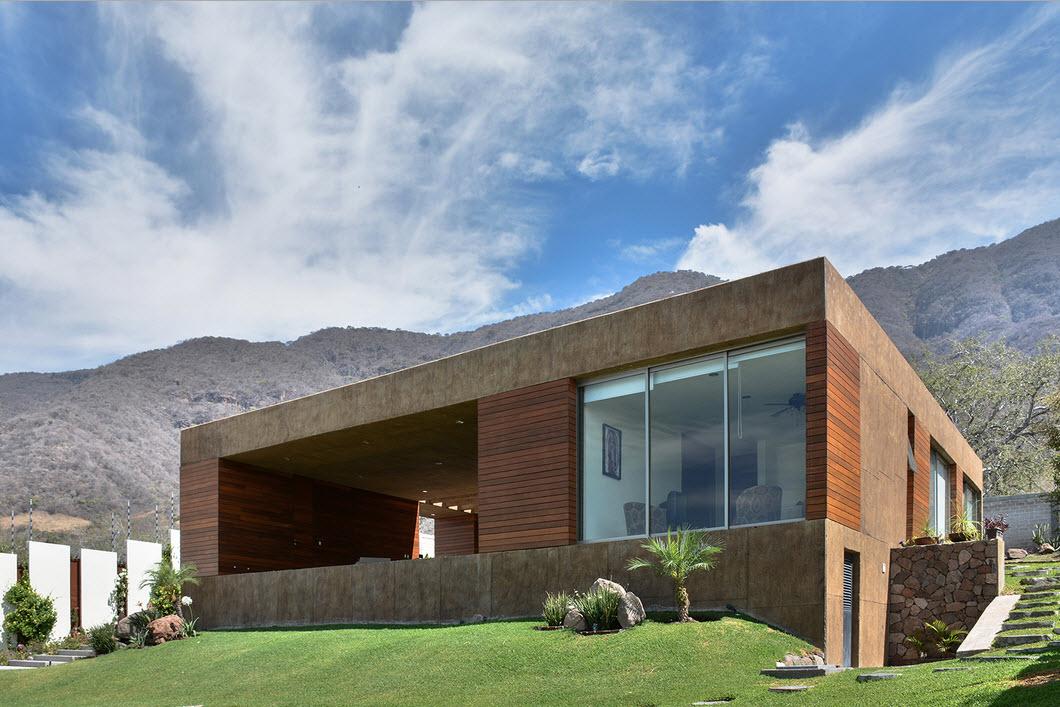Dise o de casa cuadrada con planos y fachadas construye for Ver construcciones de casas