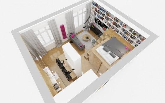 Plano 3D de departamento cuadrado y entrepiso