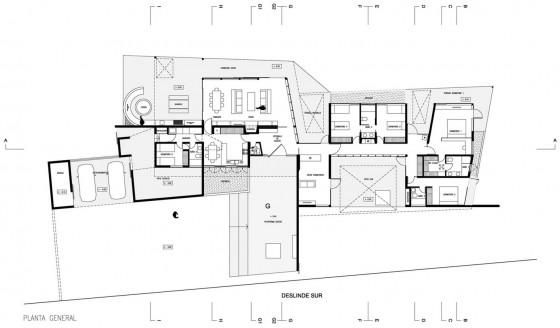 Plano de casa de una planta grande