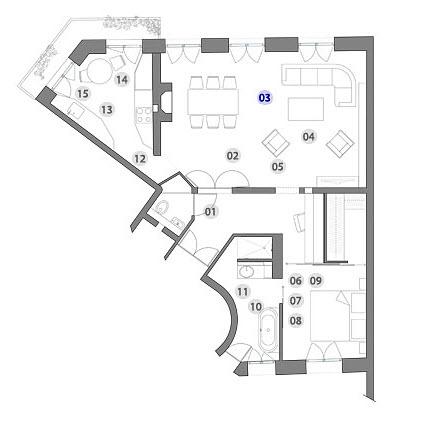 Plano de casa triangular con dise o de interiores for Como distribuir una cocina cuadrada