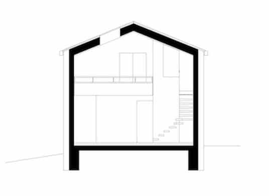 Plano de corte de casa de campo con mezzanine