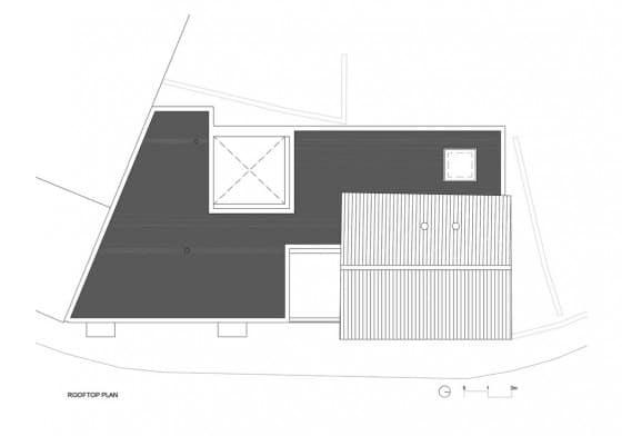 Plano de techo de casa de dos plantas