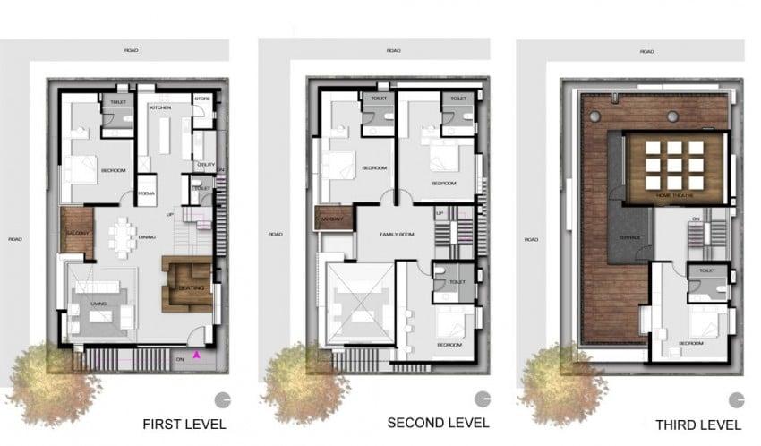 Dise o de planos de casa de tres pisos construye hogar for Modelos de casas de madera de un piso