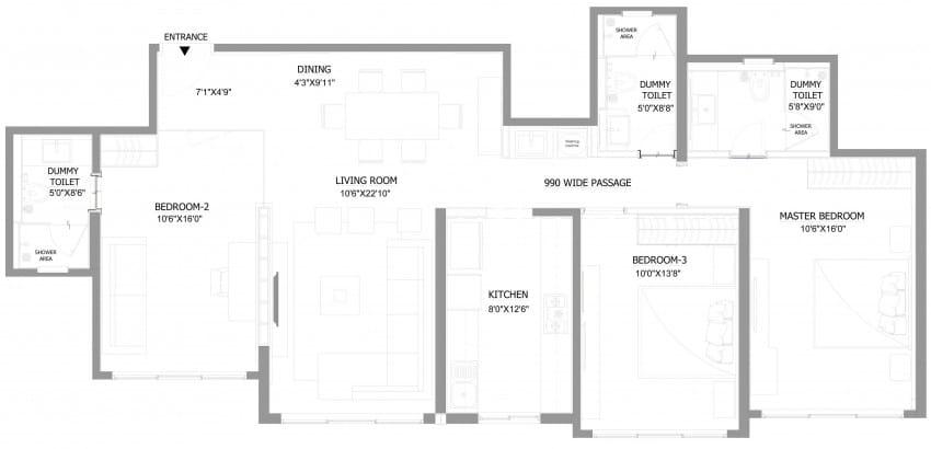 Plano y dise o de interiores departamento for Planos de departamentos 3 dormitorios