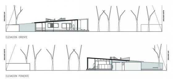 Planos de elevación de casa de un piso