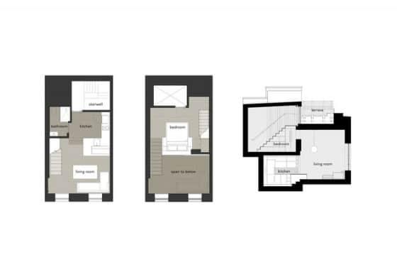 Planos de planta de mini departamento