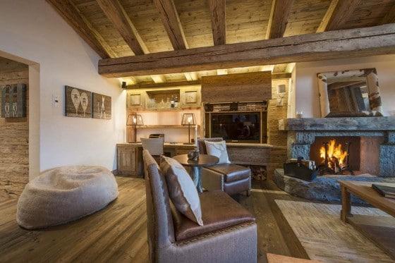 Decoración de interiores rústica de casa de campo
