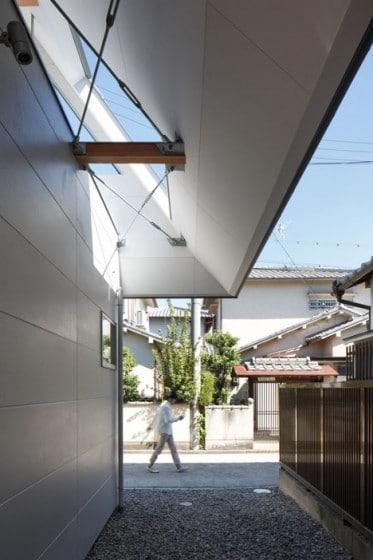Detalle constructivo de interior de techo a dos aguas