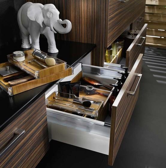 Diseño de cajones de madera para cuarto de baño
