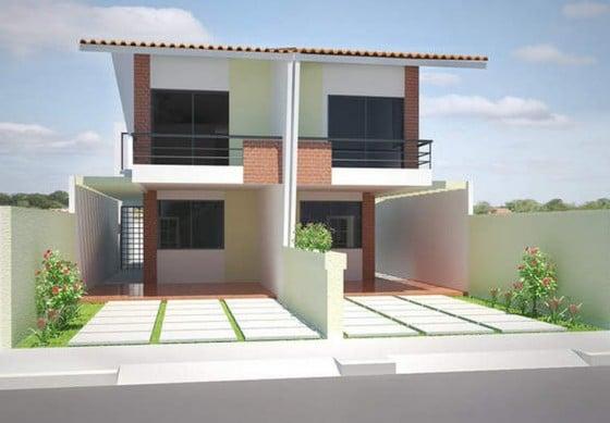 Diseño de casa de dos pisos dividida en dos