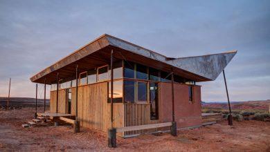 Photo of Proyecto de pequeña casa de arcilla y madera con moderno diseño de techo tipo sombrero