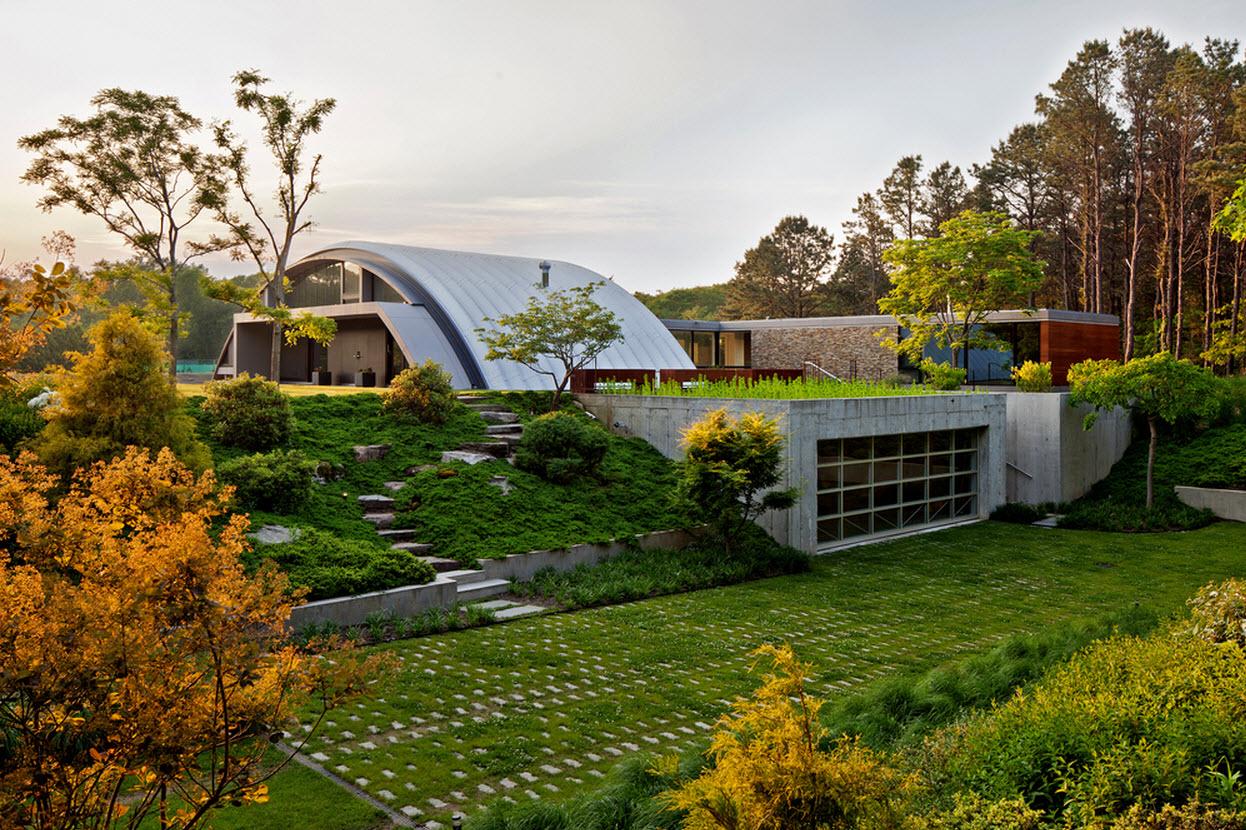 Dise o de casa grande moderna forma arco construye hogar for La paisajista