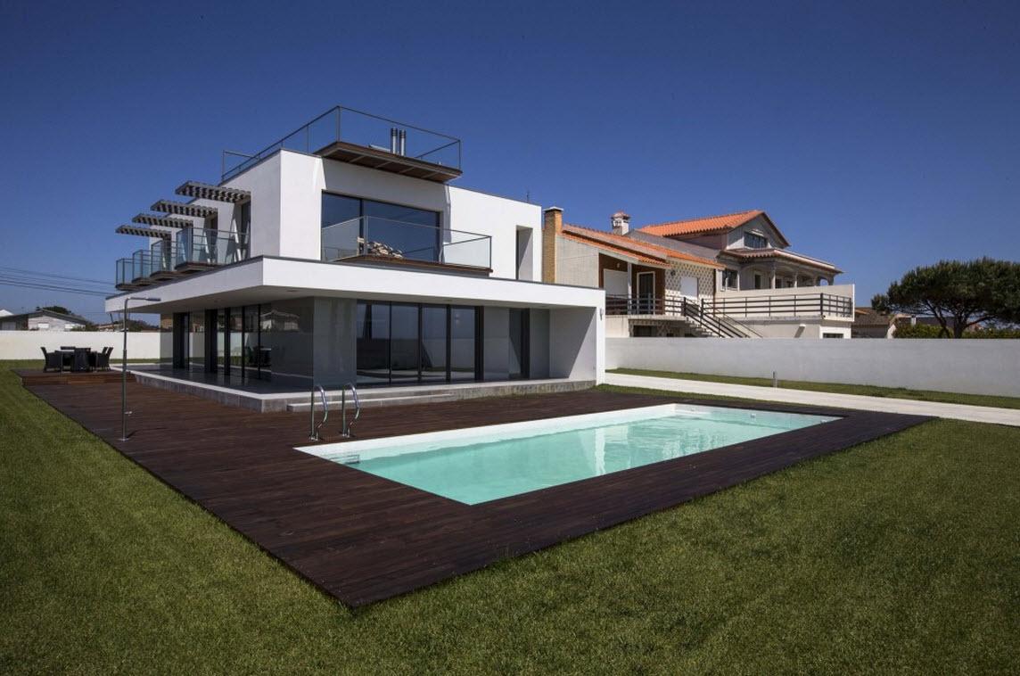 planos de casa con piscina tres dormitorios