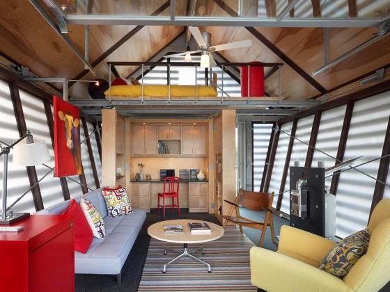 Diseño de interiores de casa de campo pequeña y moderna