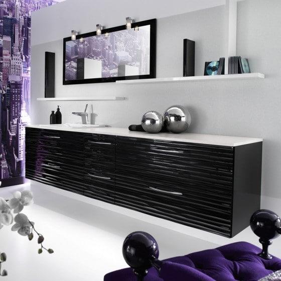 Diseño de mueble de cuarto de baño color negro
