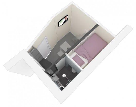 Diseño de plano 3D de  mini apartamento