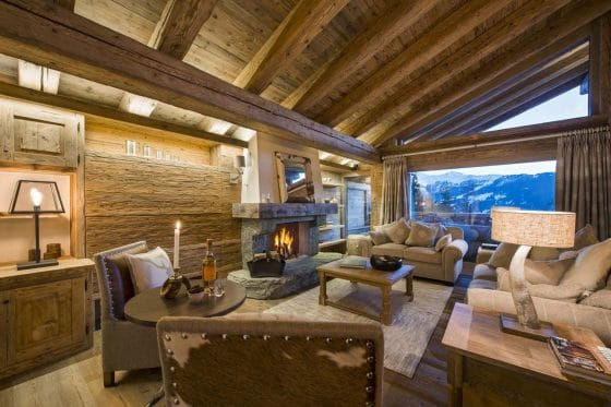 Diseño de sala estar de casa de campo
