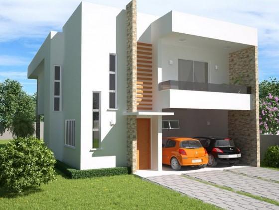 Fachada de casa moderna económica dos pisos lineas rectas
