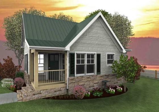 Fachada de casa pequeña de campo con techos a dos aguas