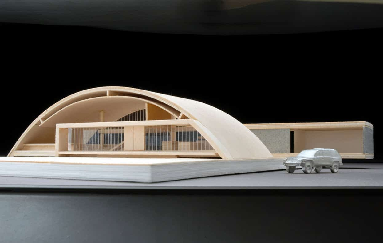 Dise o de casa grande moderna forma arco construye hogar for Formas de techos para casas