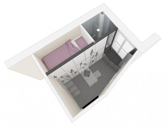 Plano 3D de apartamento muy pequeño