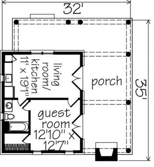 Plano de cabaña pequeña de campo