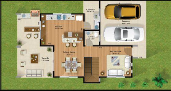Casas de dos pisos y tres dormitorios for Planos de casas de 2 plantas