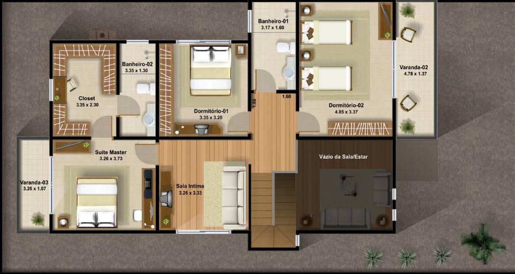 Casas de dos pisos y tres dormitorios for Planos de casas de tres recamaras