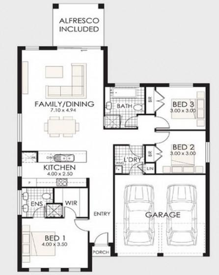 Plano de casa de un piso y tres dormitorios con garaje