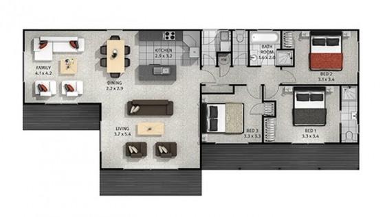Plano de casa de una planta y tres dormitorios 003