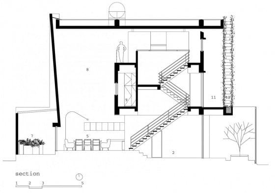Plano de corte de casa de tres plantas