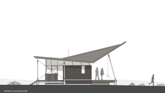 Plano de elevación norte de pequeña casa rural