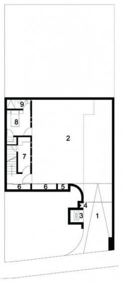 Plano del sótano de casa de dos pisos