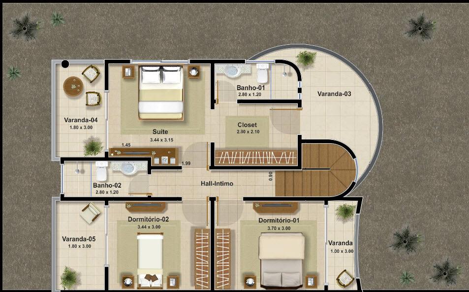 Casas de dos pisos y tres dormitorios Planos de segundo piso
