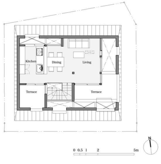 Plano del segundo piso de casa muy pequeña